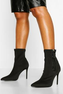 boohoo - Womens Zip Side Stiletto Heel Sock Boots - Black - 3, Black