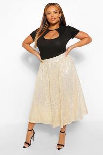 boohoo - Womens Plus Sequin Circle Midi Skater Skirt - Metallics - 18, Metallics