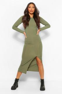 boohoo - Womens Tall Jersey Long Sleeve Side Split Midaxi Dress - Green - 6, Green