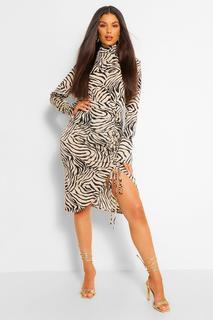 boohoo - Womens Tiger Print Ruched Split Midi Skirt - Beige - 10, Beige