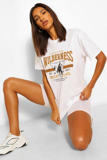 boohoo - Womens Wilderness Printed Washed T-Shirt - White - Xl, White