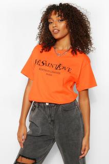 boohoo - Womens Tall French Slogan T-Shirt - Orange - S, Orange
