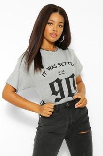 boohoo - Womens It Was Better In The 90'S Graphic T-Shirt - Grey - L, Grey