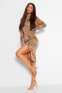 boohoo - Womens Tiger Print Ruched Split Midi Skirt - Brown - 10, Brown