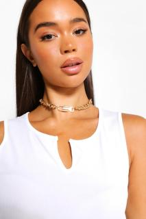boohoo - Womens Lock And Key Chain Choker - Metallics - One Size, Metallics