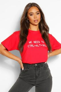 boohoo - Womens Ctrl Alt Delete Graphic T-Shirt - Red - S, Red