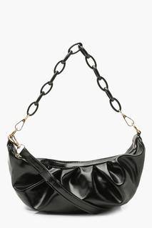 boohoo - Womens Chain Detail Rouched Under Arm Bag - Black - One Size, Black
