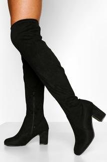 boohoo - Womens Wide Fit Block Heel Stretch Over The Knee Boot - Black - 8, Black