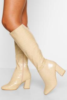 boohoo - Womens Wide Fit Block Heel Knee Boot - White - 4, White