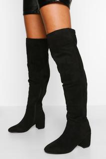 boohoo - Womens Wide Fit Block Heel Stretch Over The Knee Boot - Black - 6, Black