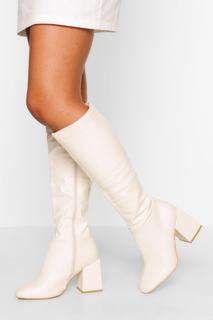 boohoo - Womens Wide Fit Block Heel Knee High Boot - White - 3, White