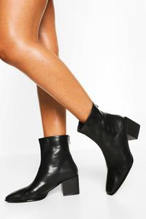 boohoo - Womens Low Block Heel Square Toe Shoe Boot - Black - 5, Black