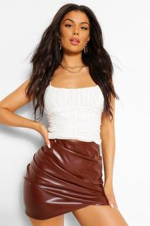 boohoo - Womens Leather Look Ruched Wrap Mini - Brown - 10, Brown