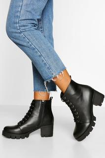 boohoo - Womens Wide Fit Lace Up Block Heel Hiker Boot - Black - 7, Black