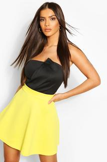 boohoo - Womens Basic Fit And Flare Skater Skirt - Yellow - 8, Yellow