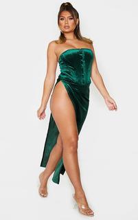 PrettyLittleThing - Teal Velvet Tie Split Side Midi Skirt, Emerald Green