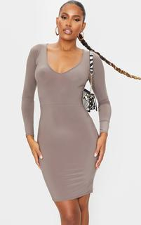 PrettyLittleThing - Taupe Long Sleeve Extreme Plunge Bodycon Dress, Brown