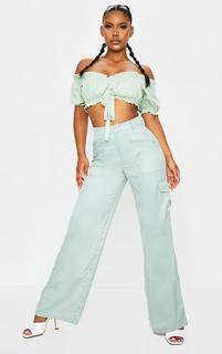 PrettyLittleThing - Sage Green Woven Wide Leg Cargo Pants, Sage Green