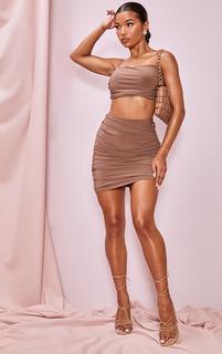 PrettyLittleThing - Light Brown Slinky Ruched Side Seam Mini Skirt, Light Brown