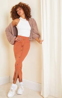 PrettyLittleThing - Rust Button Front Midaxi Skirt, Orange