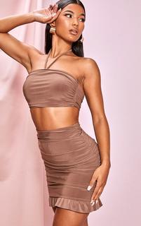 PrettyLittleThing - Light Brown Slinky Ruched Side Frill Panel Hem Mini Skirt, Light Brown