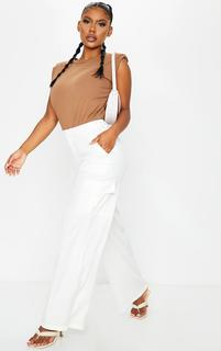 PrettyLittleThing - Cream Woven Wide Leg Cargo Pants, White