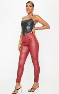PrettyLittleThing - Red Biker Coated Skinny Jeans, Red