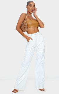 PrettyLittleThing - White Vinyl Belted Wide Leg Trousers, White