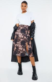 PrettyLittleThing - Black Floaty Tie Dye Midi Skirt, Black