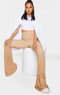 PrettyLittleThing - Camel Pinstripe Ruched Bum Slinky Flared Trousers, Camel