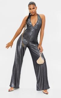 PrettyLittleThing - Silver Metallic Slinky Halterneck Wide Leg Jumpsuit, Grey