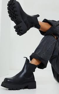 PrettyLittleThing - Black Matte PU Chunky Cleated Pull On Sole Boots, Black