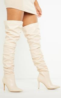 PrettyLittleThing - Cream Slouch Mid Heel Point Toe Thigh High Boot, White