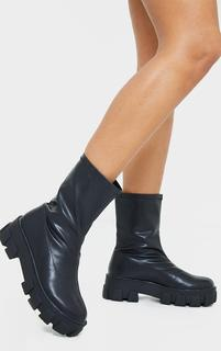 PrettyLittleThing - Black PU Extreme Chunky Cleat Sole Sock Boot, Black