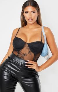 PrettyLittleThing - Shape Black Cup Detail Sheer Lace Bodysuit, Black