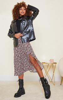 PrettyLittleThing - Black Winter Floral Floaty Midi Skirt, Black Floral