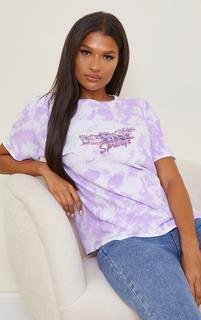 PrettyLittleThing - Purple Palm Springs Printed Washed T Shirt, Purple