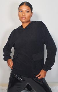PrettyLittleThing - Black Towelling Oversized Pocket Sweatshirt, Black