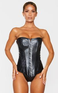 PrettyLittleThing - Black Faux Leather Hook Front Corset Set, Black