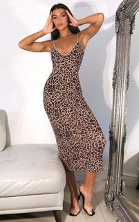 PrettyLittleThing - Brown Leopard Print Strappy Thick Rib Split Midaxi Dress, Brown
