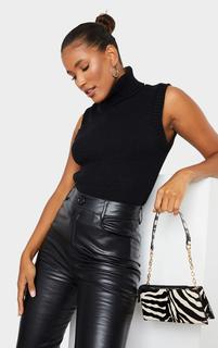 PrettyLittleThing - Black Roll Neck Sleeveless Knitted Top, Black