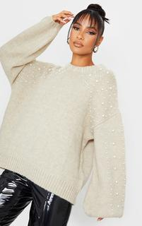 PrettyLittleThing - Oatmeal Embellished Sleeve Turtle Neck Jumper, Oatmeal