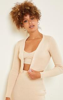 PrettyLittleThing - Stone Ribbed Knitted Cropped Cardigan, White