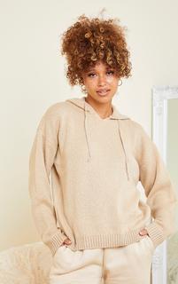 PrettyLittleThing - Stone Fluffy Oversized Knitted Hooded Jumper, White