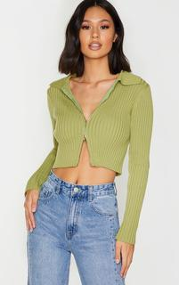 PrettyLittleThing - Olive Double Zipped Knitted Crop Top, Green