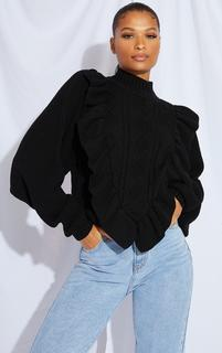 PrettyLittleThing - Black Frill Cable Turtle Neck Jumper, Black