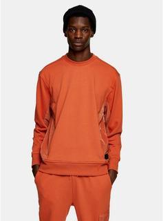 Topman LTD - Mens Brown Topman Ltd Rust Panel Sweatshirt, Brown