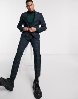 Twisted Tailor - Superenge Anzughose mit grünem Schottenkaromuster
