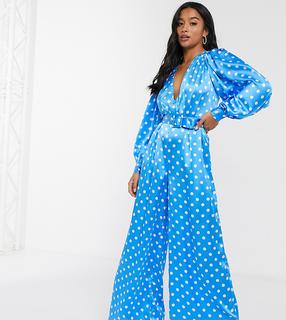 ASOS Petite - ASOS DESIGN Petite – Weitgeschnittener Satin-Jumpsuit in Blau mit weißen Tupfen-Mehrfarbig