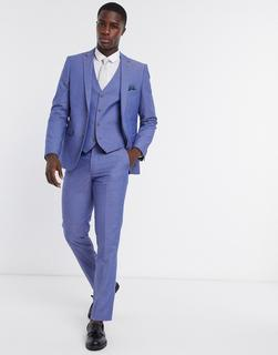 Farah - Schmal geschnittene Anzugweste in Uni-Blau
